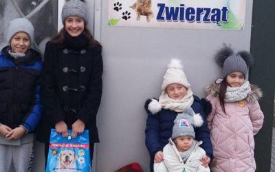 Uczniowie w schronisku dla zwierząt na Janiku
